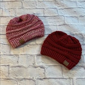 C.C Exclusives Burgundy and pink Mix beanie hats